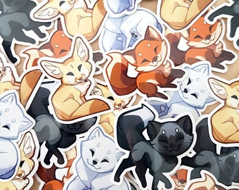 Cute vinyl fox stickers set - red fox, arctic fox, fennec fox, silver fox