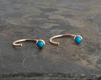 Turquoise Stone Earrings, Round Open Hug Hoop Earrings, Dainty Earrings, Hugging Hoop Earrings, Gold Earrings, Handmade Earrings, 3mm