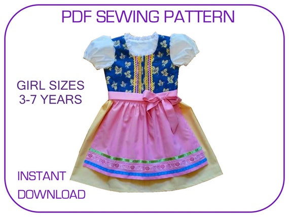 DIrndl pattern 5 sizes. Instant download.