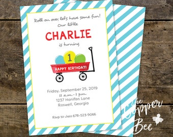 Red Wagon // Roll on Over // Birthday Invitation // First Birthday