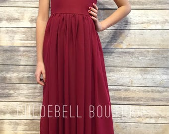 Wine midi length flower girl dress- Burgandy flower girl dress - Midi chiffon dresss- Ivory chiffon dress - Crimson chiffon flower girl dres