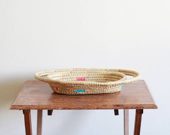 Vintage Woven Basket / Colorful Basket / Boho Hippie / Decorative Basket / Vintage Decor Boho Style