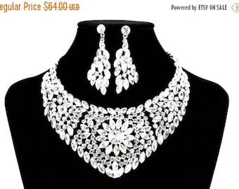 SALE SALE Bridal Statement Necklace, Bridal Crystal Necklace, Crystal Wedding Necklace, Crystal Evening Necklace ~  E 109