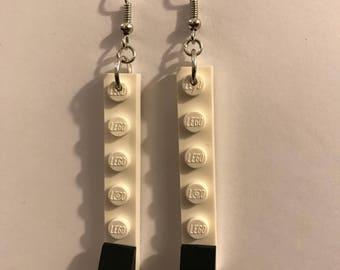 White & Black LEGO Dangly Earrings