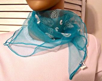 Scarf Nylon Chiffon Scarf  Vintage Nylon Wrap Blue w White Paisley Print Vintage Scarf