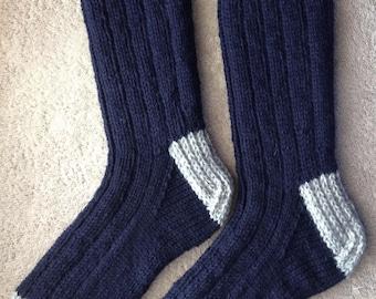 À la main tricot homme - XL 100 % laine lourde botte, randonnée, ski, planche à neige chaussettes (B-063)