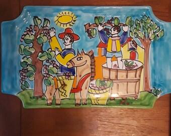Vintage La Musa Italian Hand Painted Pottery Ceramics Large Tray