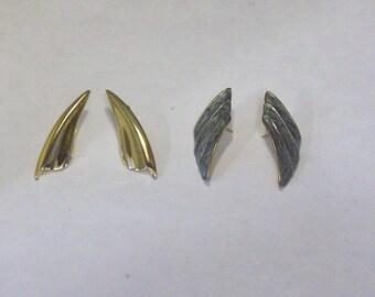 VINTAGE 1980's Gold Tone Wing Earrings, Fan Earrings, Pierced Earrings, Post Back, Select Your Style