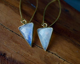 Triangular Rainbow Moonstone Earrings in Silver/Brass, Triangular Earrings,