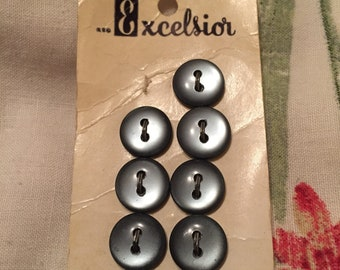 Vintage Excelsion metalic  grey buttons pack of 9