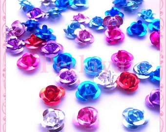 Mixed 50 beads 6mm REF1445 aluminum roses flowers