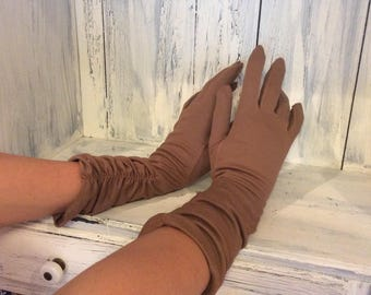 Vintage Nilon extra long gloves, ladies long gloves, Brown long gloves, ladies long brown evening gloves, elbow length vinatge gloves