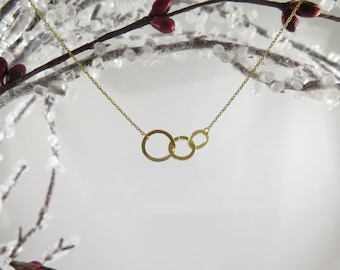 Family Necklace, Personalized Necklace, Unity Link Necklace, Gold Circles Family Necklace, Dainty Simple Layering Necklace, Gold Necklace