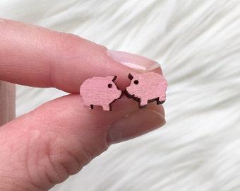 Wooden pig Earrings