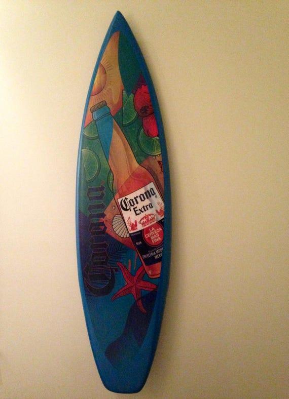 Vintage Sign/ Decorative Wall Decor/ Corona Surf board/ Beer