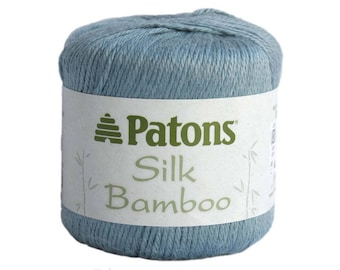 SEA Silk Bamboo. Patons Silk Bamboo. DK lightweight yarn. Blue Gray Color. Bamboo Silk blend. Excellent drape and shine. 2.2oz / 102 yd <