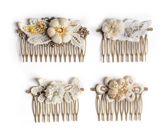 Wedding Lace Comb, Vintage Hair Comb, Embroidered Hair Comb, White Wedding Comb, Flower Comb, Headband