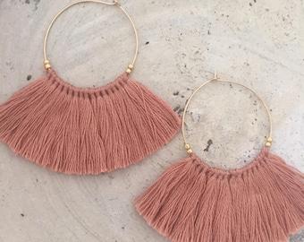 Gold hoop fringe earrings pink beige tassel earrings bohemian boho earrings