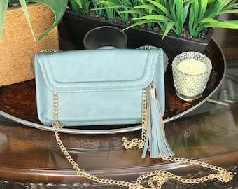 Soft Blue Clutch with Gold Chain