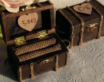 beach wedding ring box, nautical burlap wedding wooden ring box