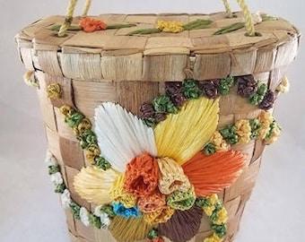 Vintage Woven Palm Handbag With Colorful Raffia Floral Design