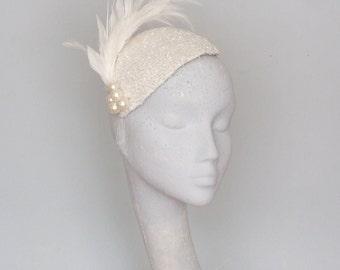 Ivory Beaded Wedding Headpiece, Bridal Headpiece,  Birdcage Veil Wedding Fascinator SS2018