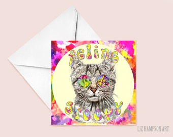 Feline Groovy cat Greetings card