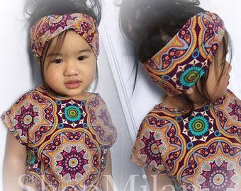 Boho Mandala Slouchy Tshirt & Turban Set