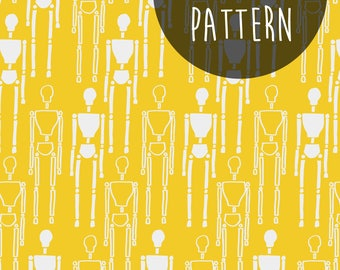 Instant Digital Download, Printable Paper, Digital Pattern, Mustard Yellow, Scrapbooking Paper, Surface Pattern Design, Hipster Print.
