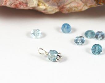 Small Aquamarine gemstone charm, 4.5x4mm rondelle, March birthstone dangle, interchangeable Sterling silver blue
