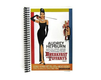 Breakfast at Tiffany Blank Notebook, Audrey Hepburn, Spiral Bound Writing Journal, Back to School Sketchbook, Mid Century Modern, Small Cute