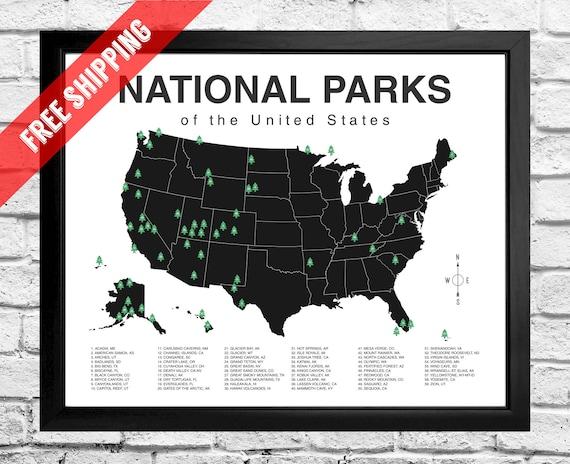 National Parks Map Checklist Print