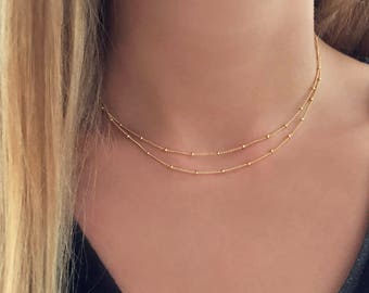 Delicate Gold Double Chain Necklace / Rose Gold Elegant Minimalist Layering Choker Necklace / Simple Classic Dainty Layered Short Necklace