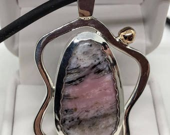 Double sided Sterling Pendant with Variscite and Peruvian Opal