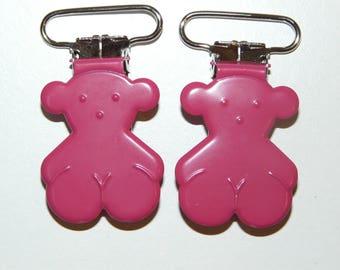 Pacifier bear pink hot pink clip