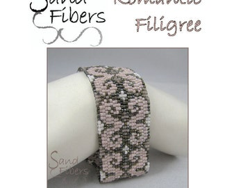 Peyote Pattern - Romantic Filigree Peyote Cuff / Bracelet  - A Sand Fibers For Personal/Commercial Use PDF Pattern