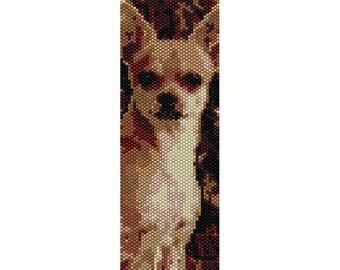 Chihuahua Peyote Bead Pattern, Dog, Bracelet Cuff, Seed Beading Pattern Miyuki Delica Size 11 Beads - PDF Instant Download