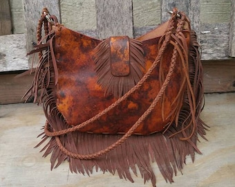 Leather Hand Bag with Hand Cut Fringe and Braided Handle Leather Purse - Boho Chic - Bohemian Fashion