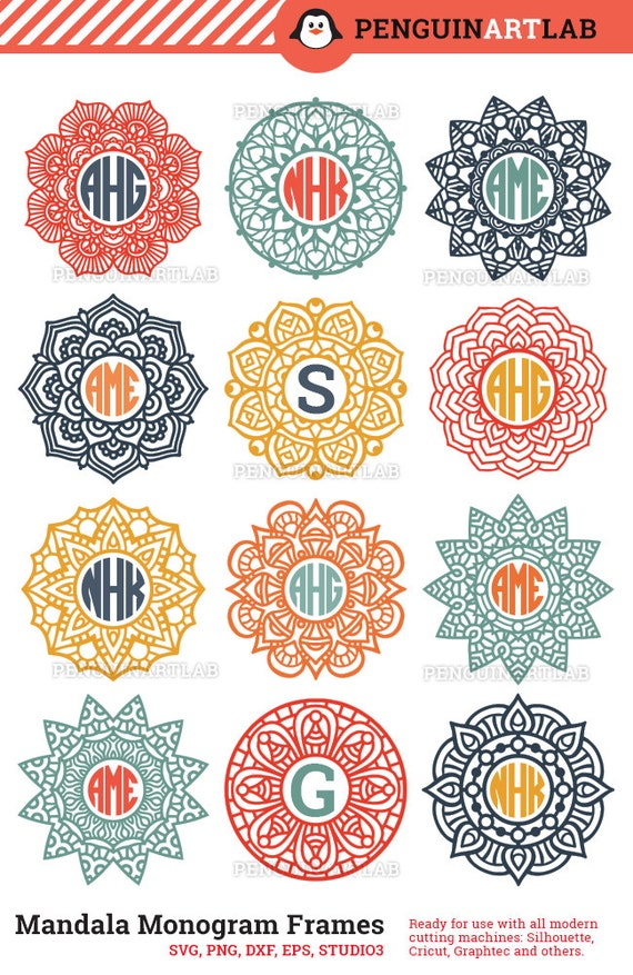 Mandala Circle Monogram Frame SVG Cut Files for Electronic