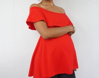 Off Shoulder Maternity Top with Ruffle Detail - Red Short Sleeve Top with Ruffle - Red Maternity top - Dressy Maternity shirt -Expecting Mom