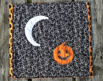 Halloween Pumpkin and Moon  Mini Quilt