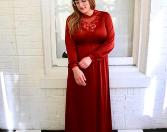 FREE SHIPPING!: Vintage 1970s Burnt Orange Copper Vicky Vaughn Long Sleeve Maxi Dress Gown with Lace Collar Detail
