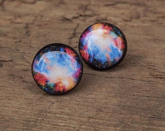 Galaxy Stud Earrings, Galaxy Jewelry, Space Earrings Studs, Universe Earrings, Blue Galaxy Earrings, Stars, Gift For Her