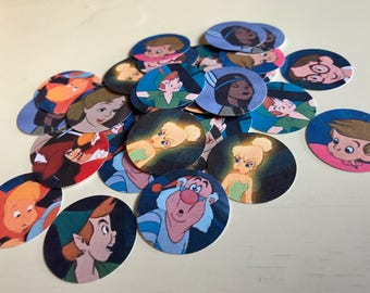 Peter Pan Confetti - 100 Pieces 1 Inch Round - Baby Shower or Birthday Confetti - Tinker Bell - Cupcake Toppers