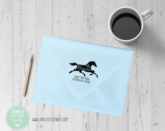 Horse theme return address stamp, Self-inking or wood stamp, Horse theme gift, Large Address Stamp, New Home Gift style 1009
