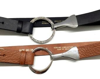 Belt leather hip belt women ring buckle belt soft and smoother leather belt shaped women belt cognac leather belt with silver ring buckle