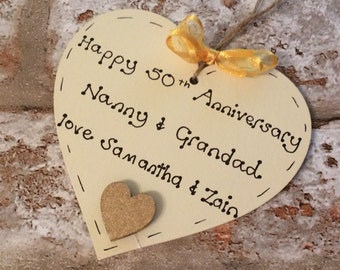 50th Golden Wedding Anniversary Gift - personalised wooden heart