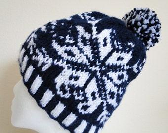 Blue and White Knit Fair Isle Hat