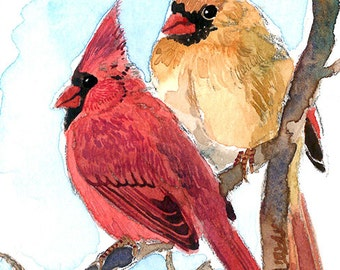 ACEO Limited Edition  1/25- A pair of cardinal perching on a branch
