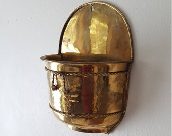 Large Brass Wall Pocket Planter with Brass Rope~Hard to find size Quality Brass Wall Pocket